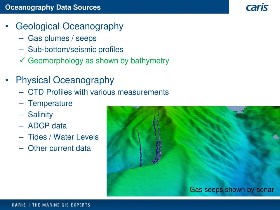 Physical Oceanography CTD Profiles with various measurements Temperature