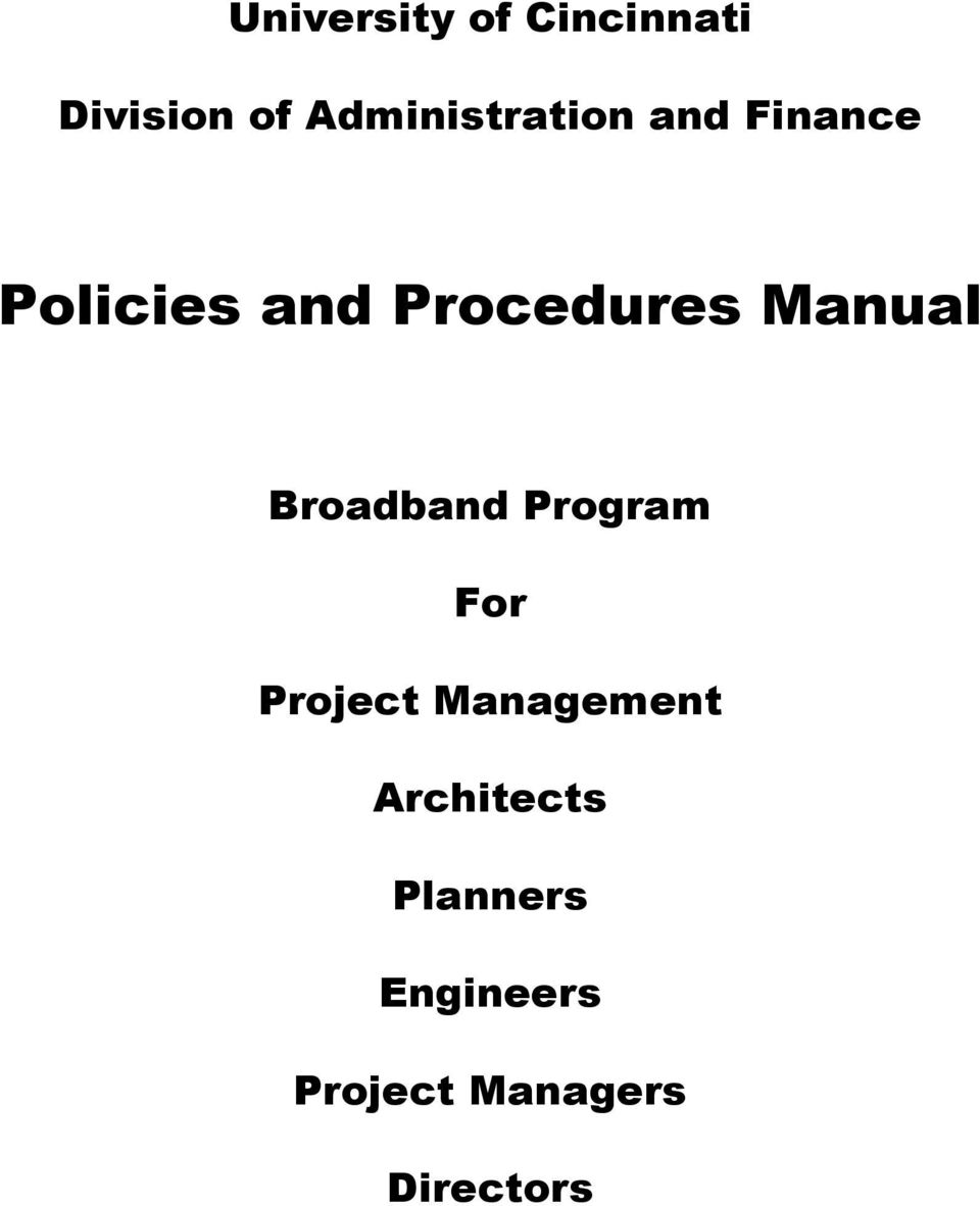 Procedures Manual Broadband Program For Project