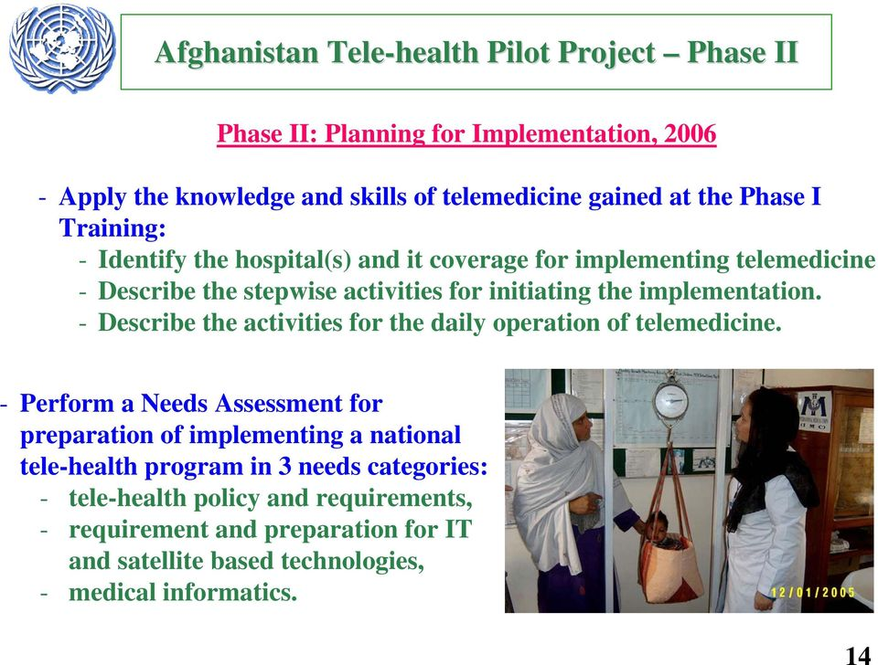 implementation. - Describe the activities for the daily operation of telemedicine.