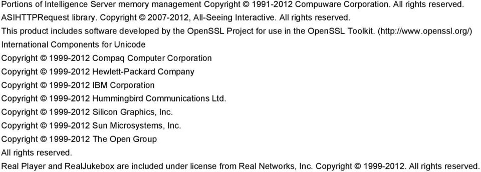 org/) International Components for Unicode Copyright 1999-2012 Compaq Computer Corporation Copyright 1999-2012 Hewlett-Packard Company Copyright 1999-2012 IBM Corporation Copyright 1999-2012