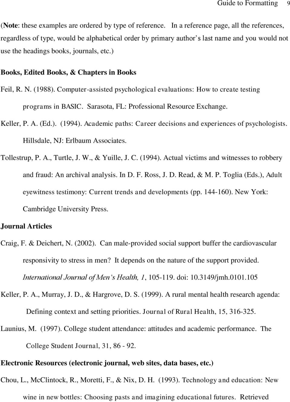 ) Books, Edited Books, & Chapters in Books Feil, R. N. (1988). Computer-assisted psychological evaluations: How to create testing programs in BASIC. Sarasota, FL: Professional Resource Exchange.
