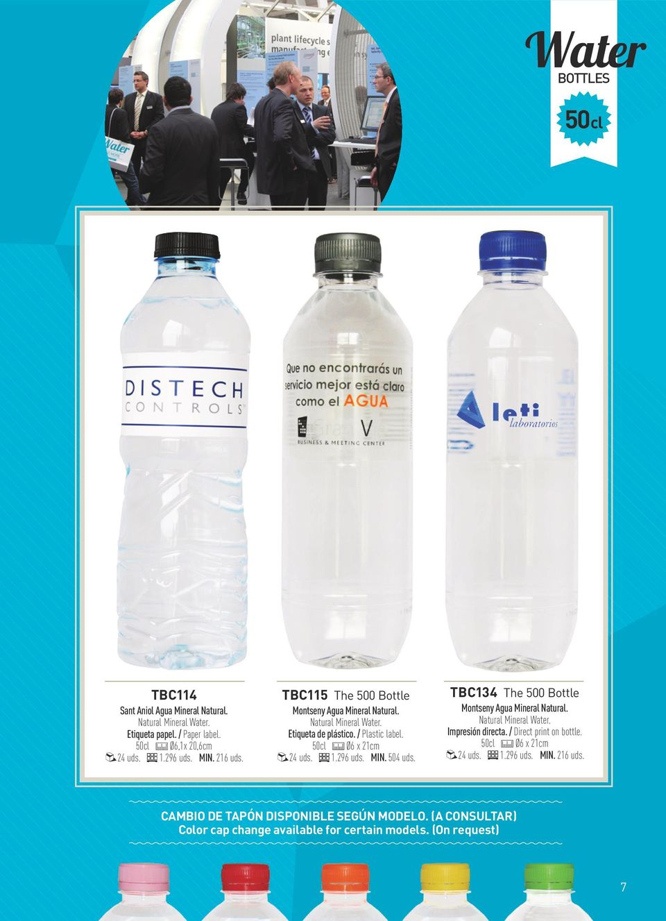 MIN. 504 uds. TBC134 The 500 Bottle Montseny Agua Mineral Natural. Natural Mineral Water. Impresión directa. / Direct print on bottle.