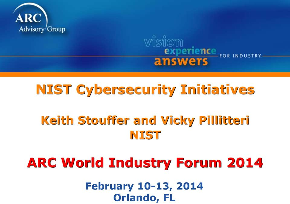 Pillitteri NIST ARC World