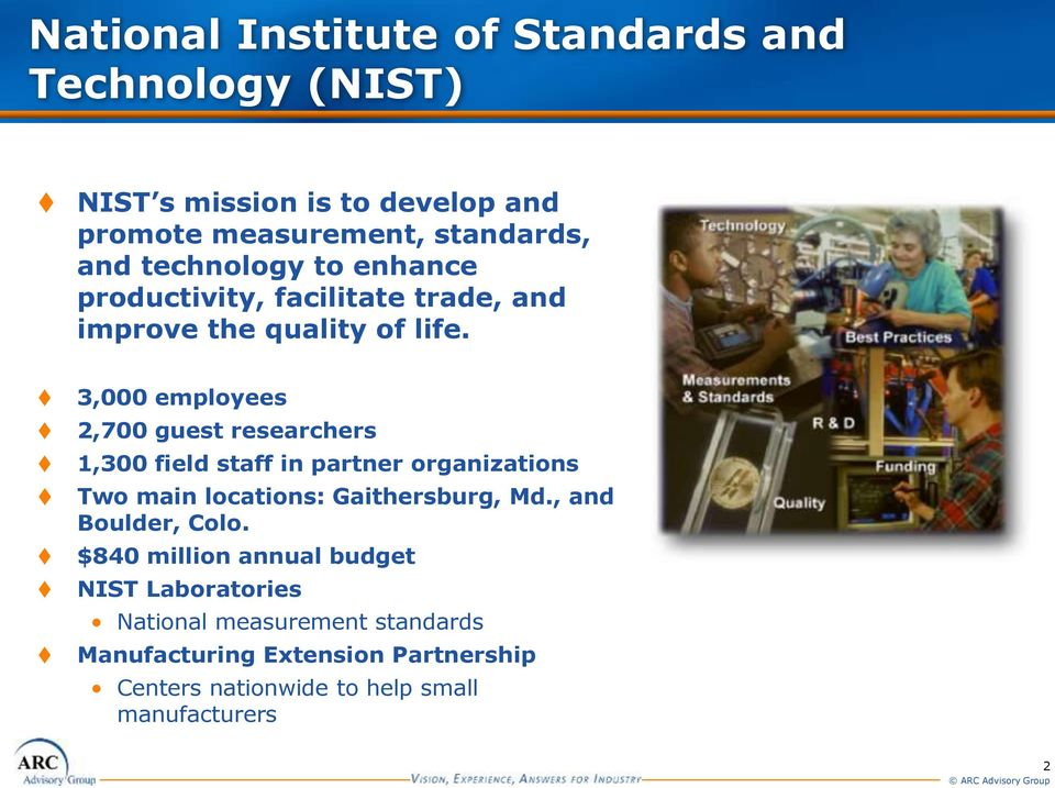 3,000 employees 2,700 guest researchers 1,300 field staff in partner organizations Two main locations: Gaithersburg, Md.