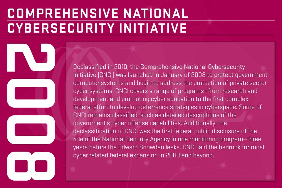 CNCI covers a range of programs from research and development and promoting cyber education to the first complex federal effort to develop deterrence strategies in cyberspace.