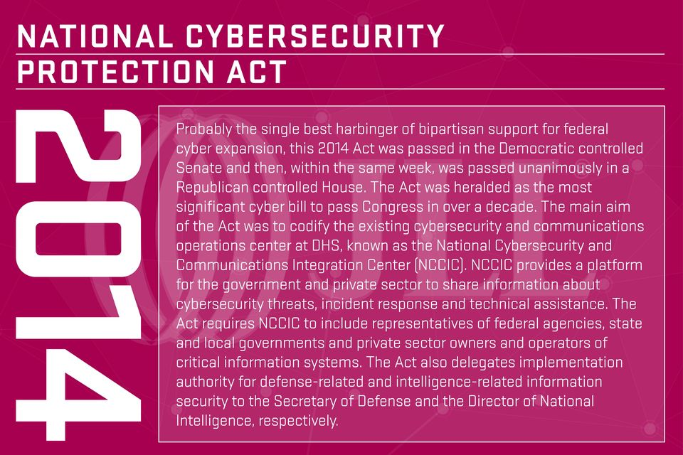 The main aim of the Act was to codify the existing cybersecurity and communications operations center at DHS, known as the National Cybersecurity and Communications Integration Center (NCCIC).