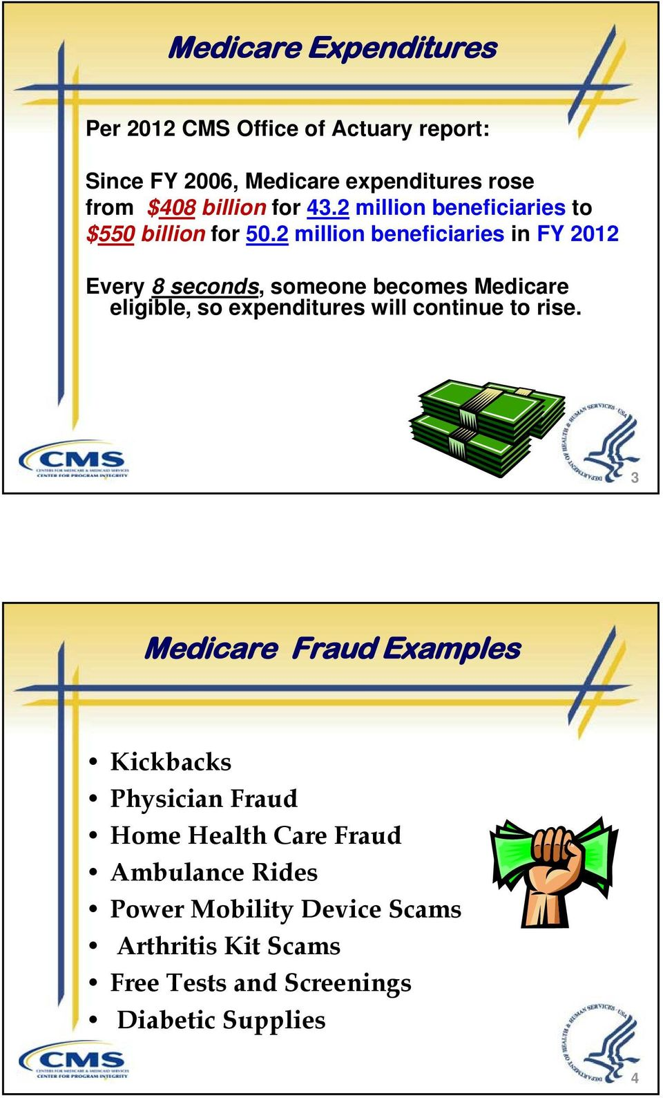 2 million beneficiaries in FY 2012 Every 8 seconds, someone becomes Medicare eligible, so expenditures will continue to