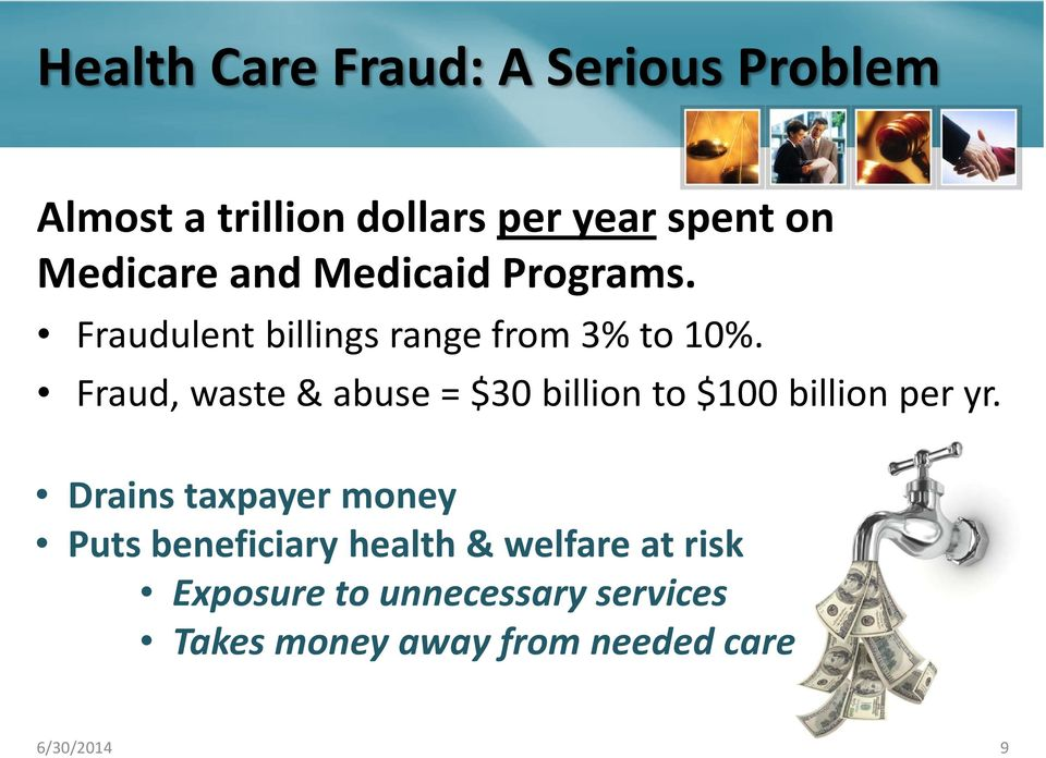 Fraud, waste & abuse = $30 billion to $100 billion per yr.