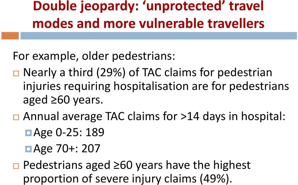 hospitalisation are for pedestrians aged 60 years.