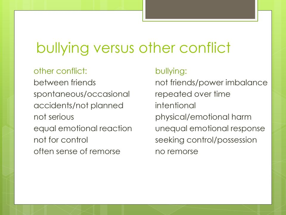 sense of remorse bullying: not friends/power imbalance repeated over time intentional