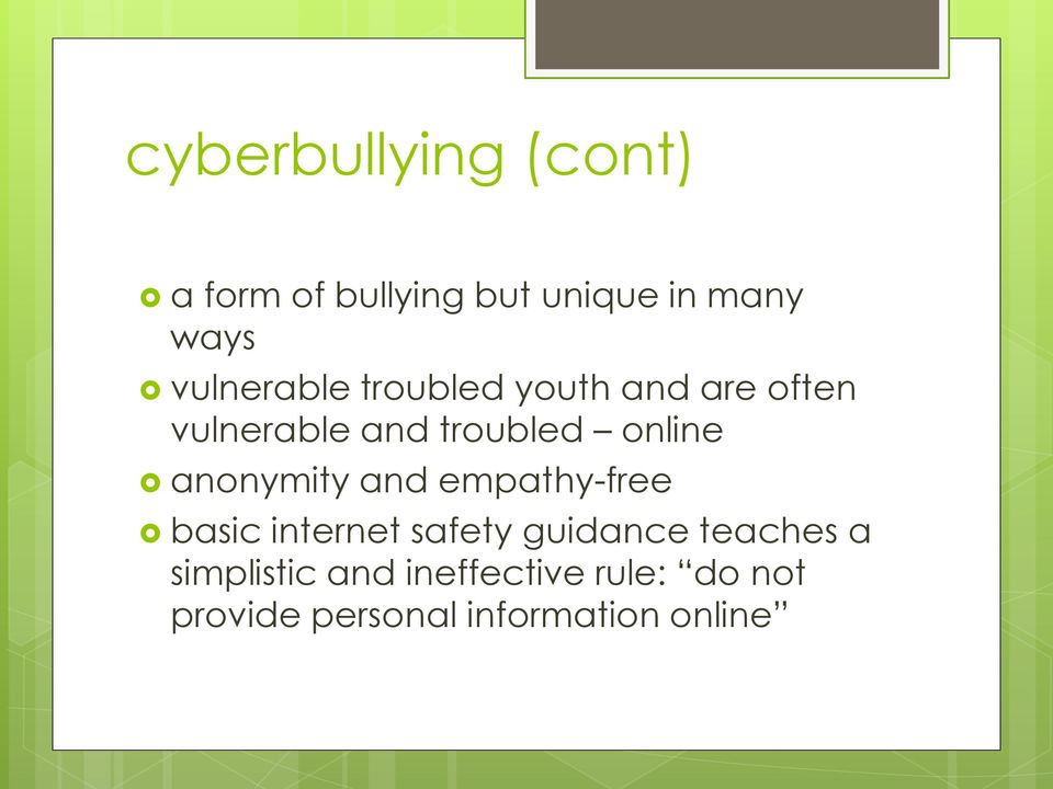 online anonymity and empathy-free basic internet safety guidance