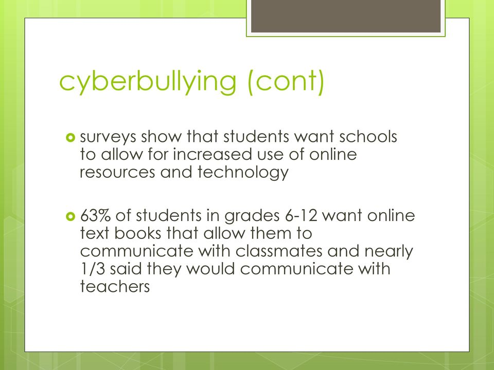 in grades 6-12 want online text books that allow them to communicate