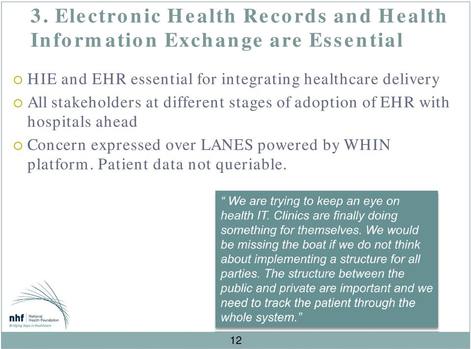 stakeholders at different stages of adoption of EHR with hospitals ahead