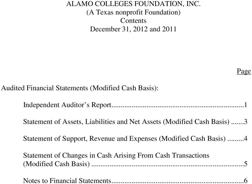 ..1 Statement of Assets, Liabilities and Net Assets (Modified Cash Basis).