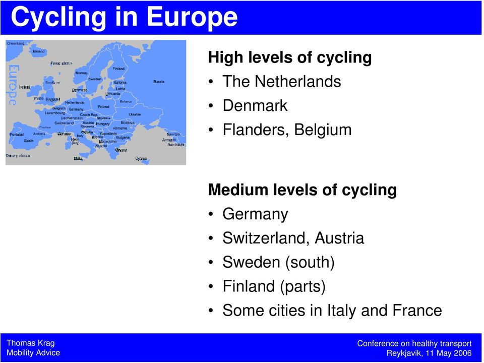 levels of cycling Germany Switzerland, Austria