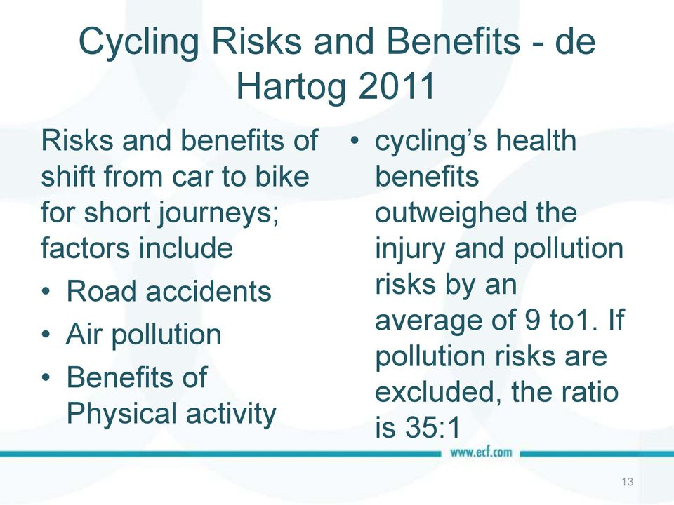 of Physical activity cycling s health benefits outweighed the injury and pollution