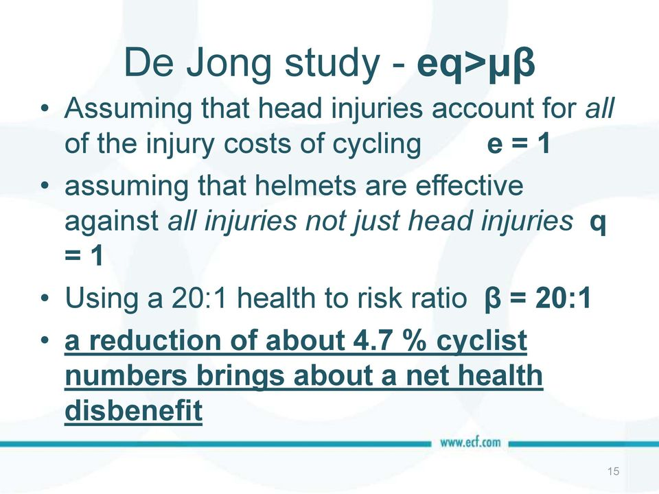 injuries not just head injuries q = 1 Using a 20:1 health to risk ratio β =
