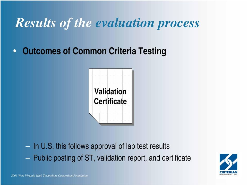U.S. this follows approval of lab test results