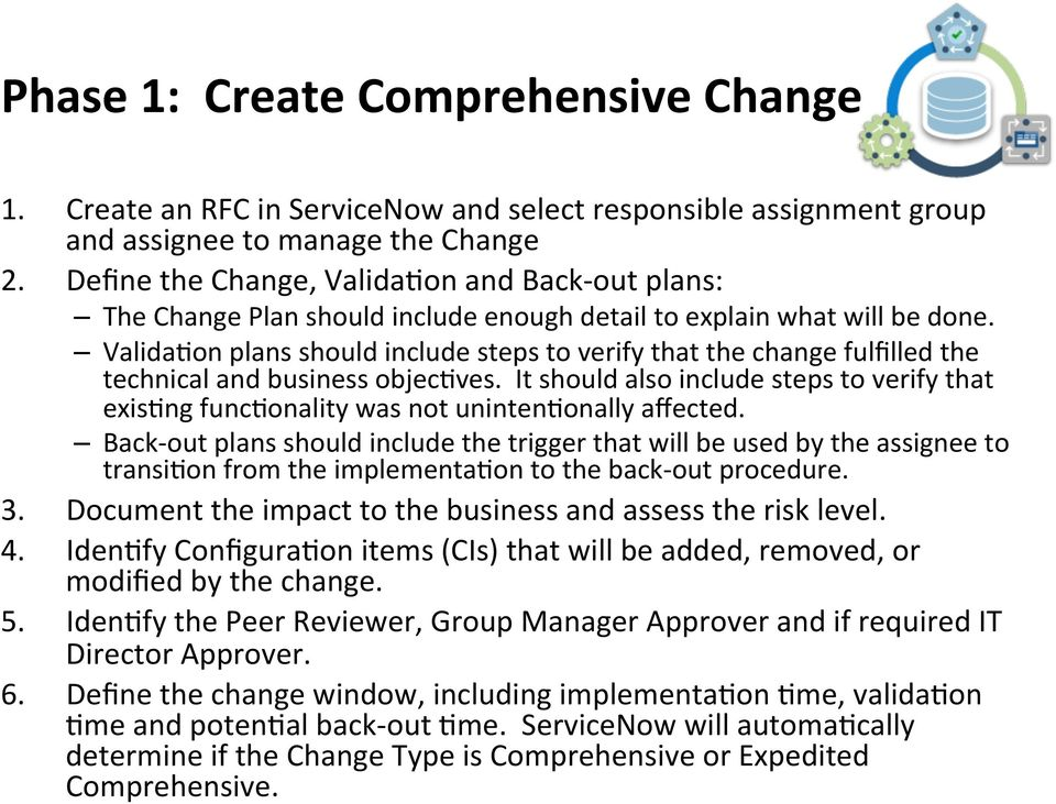 Valida9on plans should include steps to verify that the change fulfilled the technical and business objec9ves.