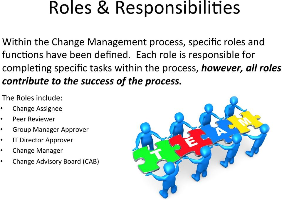 Each role is responsible for comple9ng specific tasks within the process, however, all roles