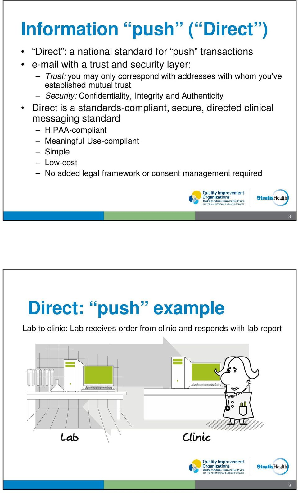 a standards-compliant, secure, directed clinical messaging standard HIPAA-compliant Meaningful Use-compliant Simple Low-cost No added