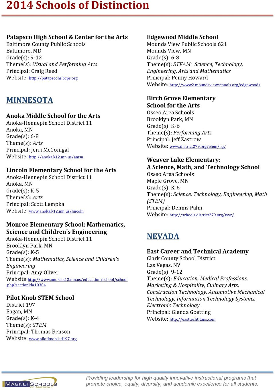 us/amsa Lincoln Elementary School for the Arts Anoka- Hennepin School District 11 Anoka, MN Grade(s): K- 5 Theme(s): Arts Principal: Scott Lempka Website: www.anoka.k12.mn.