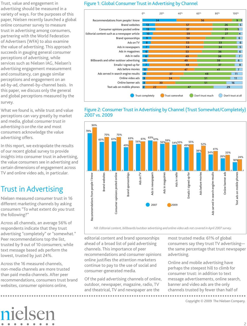 For the purposes of this paper, Nielsen recently launched a global online consumer survey to measure trust in advertising among consumers, partnering with the World Federation of Advertisers (WFA) to