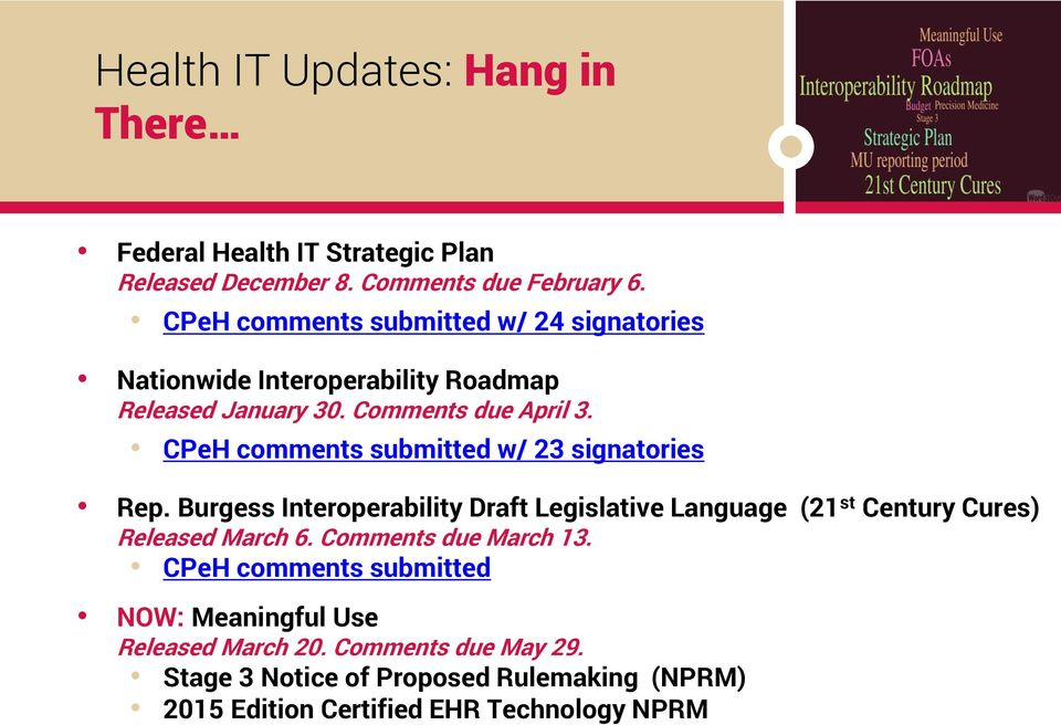CPeH comments submitted w/ 23 signatories Rep. Burgess Interoperability Draft Legislative Language (21 st Century Cures) Released March 6.