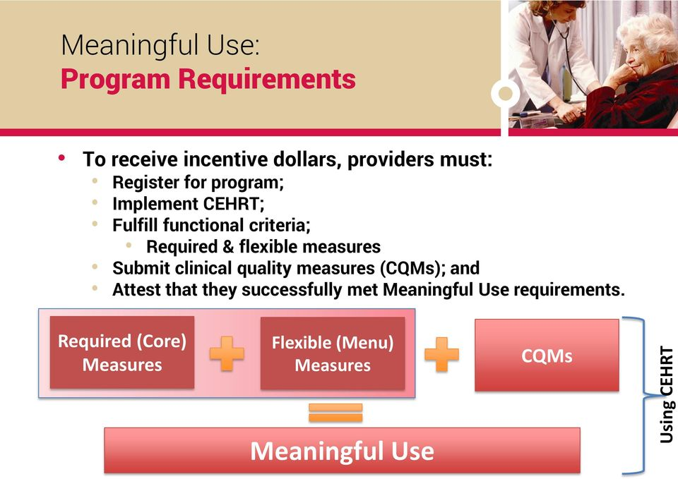 flexible measures Submit clinical quality measures (CQMs); and Attest that they successfully