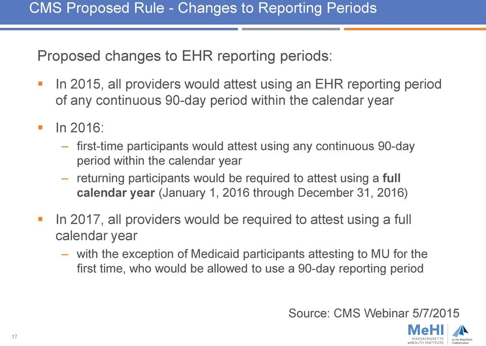 participants would be required to attest using a full calendar year (January 1, 2016 through December 31, 2016) In 2017, all providers would be required to attest using a