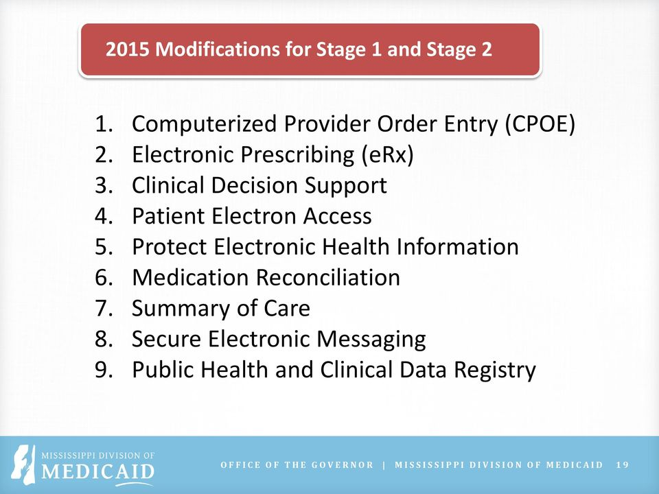 Protect Electronic Health Information 6. Medication Reconciliation 7. Summary of Care 8.