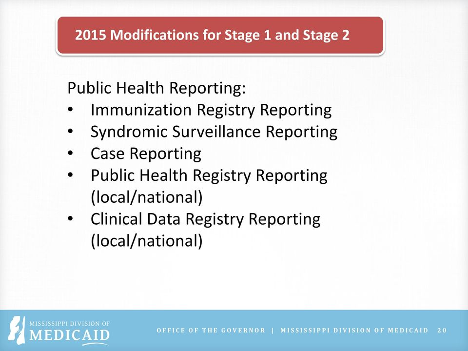 Reporting Public Health Registry Reporting (local/national) Clinical Data