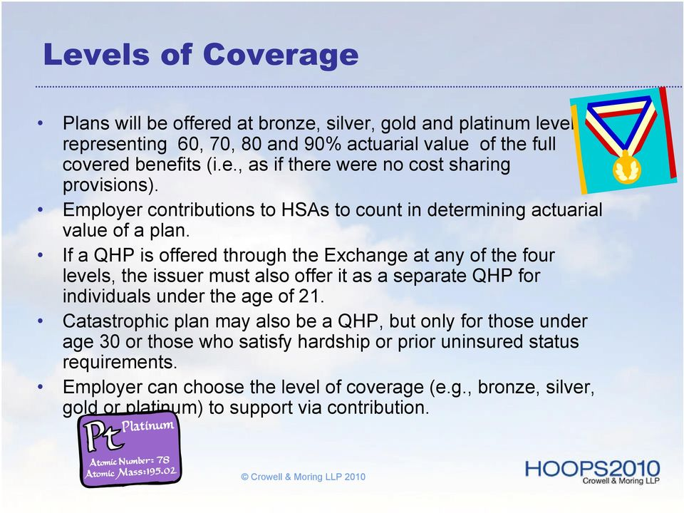 If a QHP is offered through the Exchange at any of the four levels, the issuer must also offer it as a separate QHP for individuals under the age of 21.