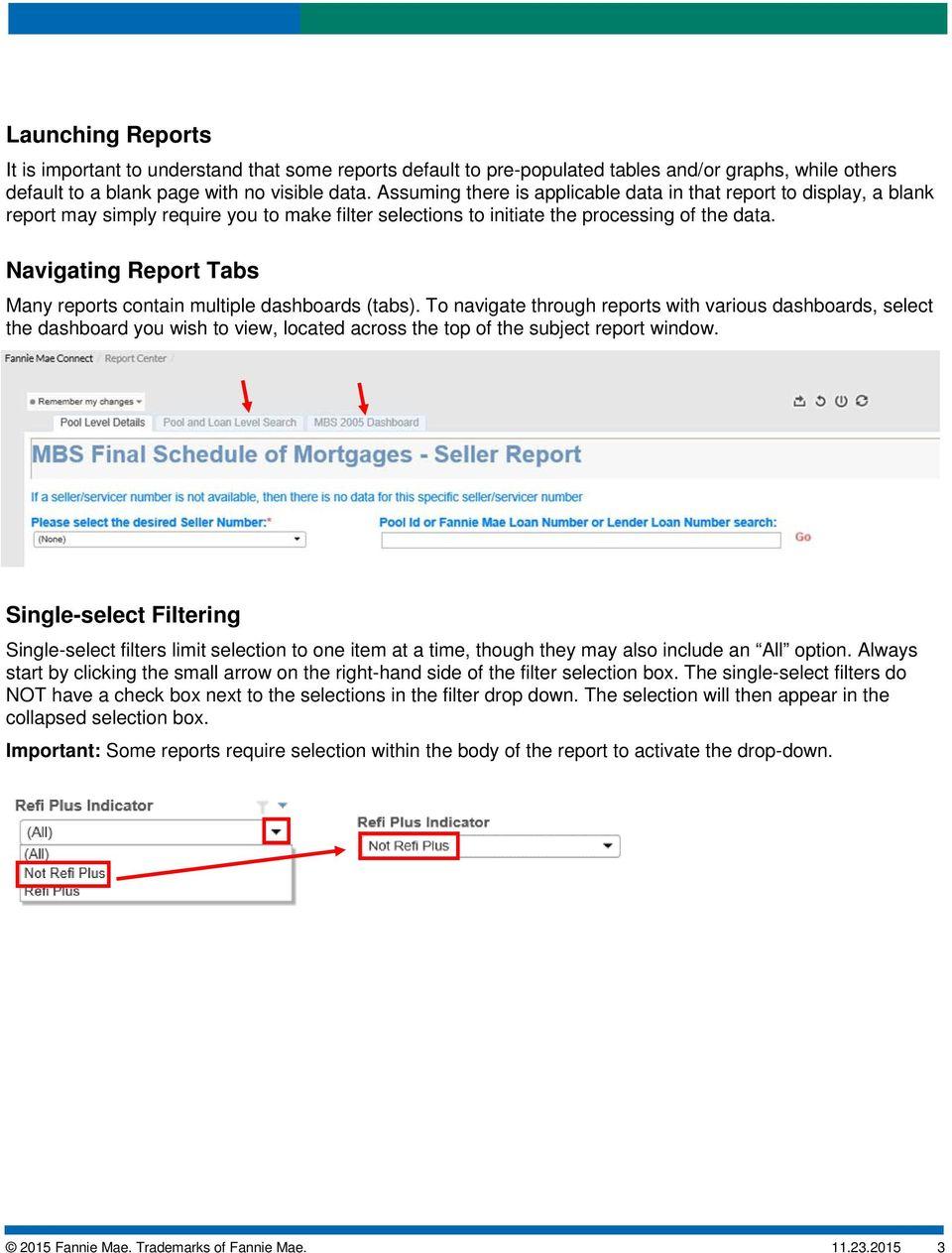 Navigating Report Tabs Many reports contain multiple dashboards (tabs).