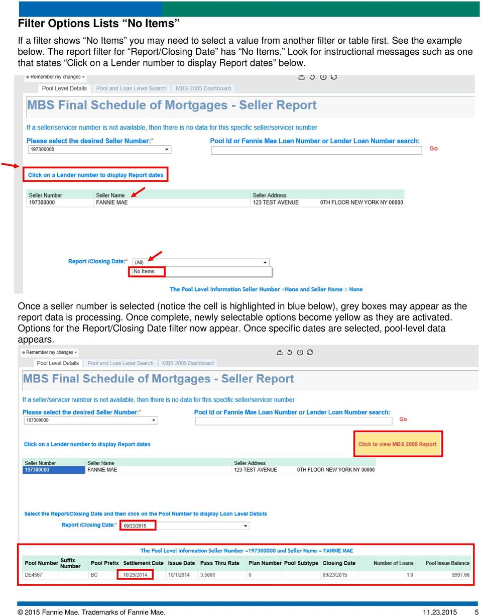 Once a seller number is selected (notice the cell is highlighted in blue below), grey boxes may appear as the report data is processing.