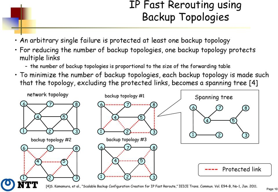 topology, excluding the protected links, becomes a spanning tree [4] network topology backup topology #1 Spanning tree 6 7 8 6 7 8 6 7 8 4 5 4 5 4 5 1 2 3 1 2 3 backup topology #2 backup