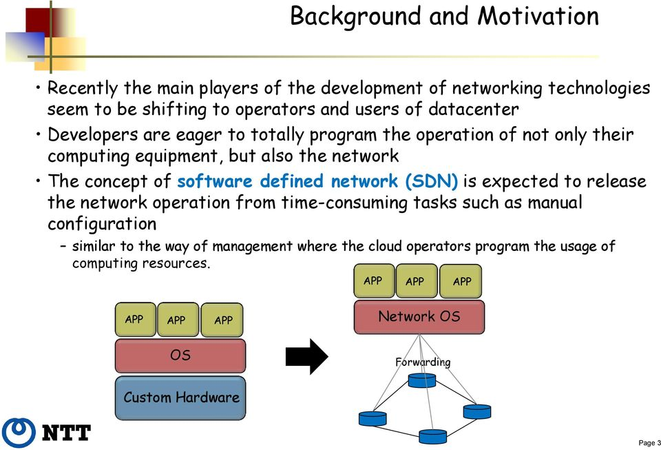 software defined network (SDN) is expected to release the network operation from time-consuming tasks such as manual configuration similar to the