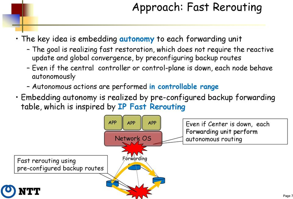 Autonomous actions are performed in controllable range Embedding autonomy is realized by pre-configured backup forwarding table, which is inspired by IP ast