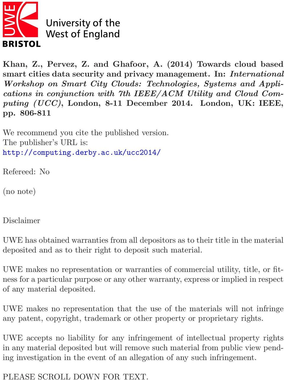 London, UK: IEEE, pp. 806-811 We recommend you cite the published version. The publisher s URL is: http://computing.derby.ac.