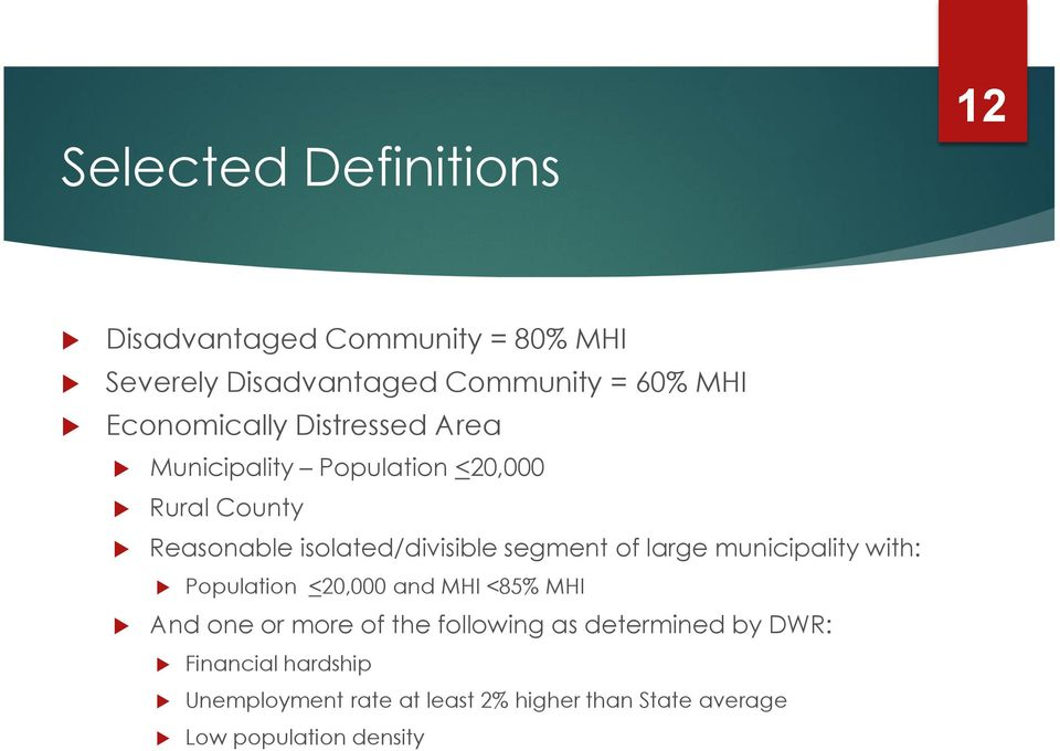 segment of large municipality with: Population <20,000 and MHI <85% MHI And one or more of the following as