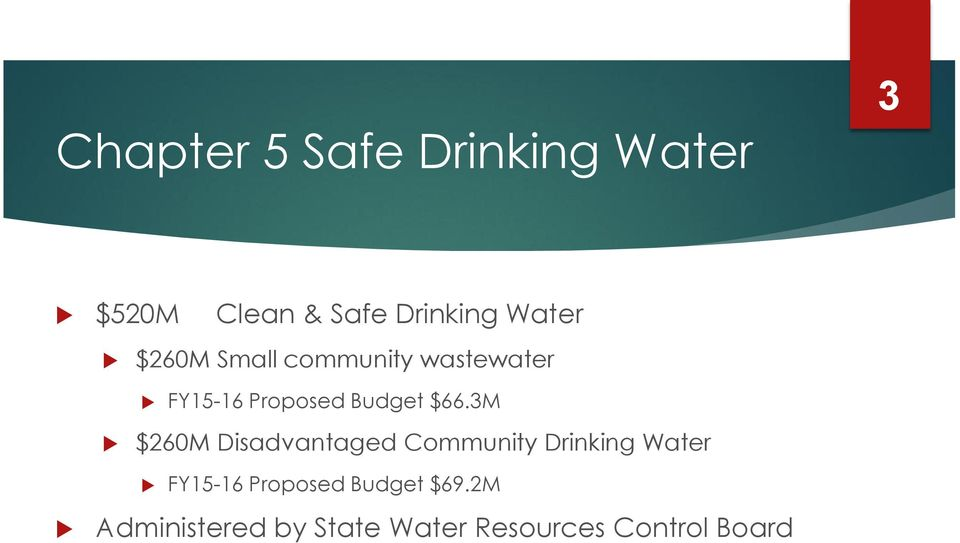 $66.3M $260M Disadvantaged Community Drinking Water FY15-16