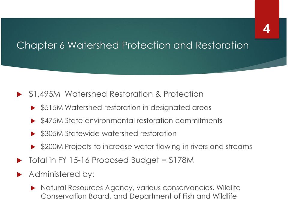 restoration $200M Projects to increase water flowing in rivers and streams Total in FY 15-16 Proposed Budget =