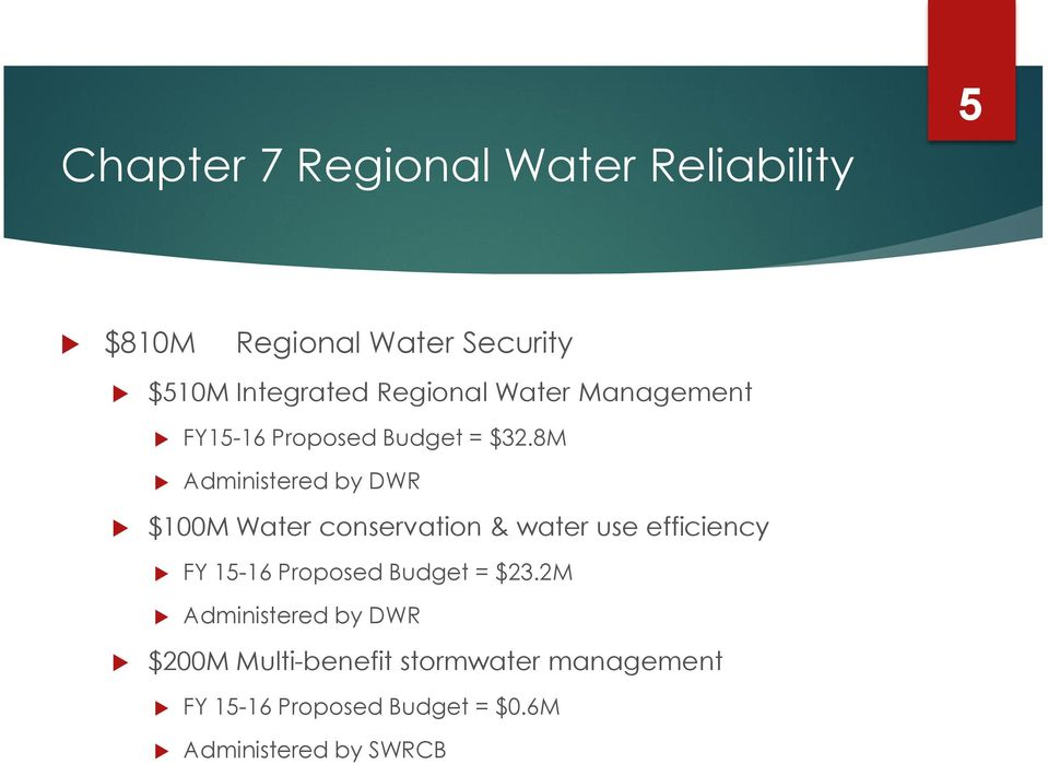 8M Administered by DWR $100M Water conservation & water use efficiency FY 15-16 Proposed