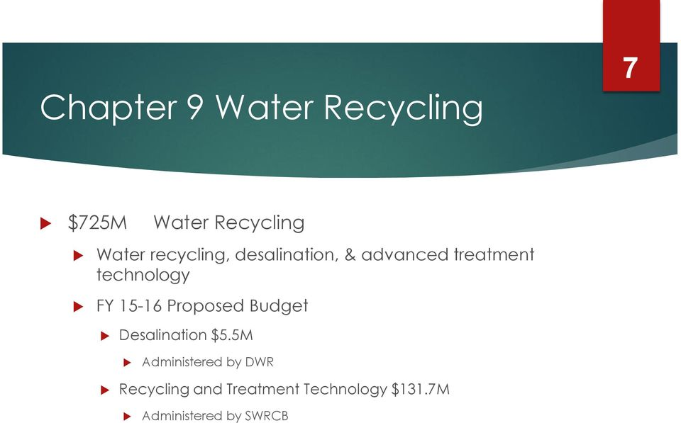15-16 Proposed Budget Desalination $5.