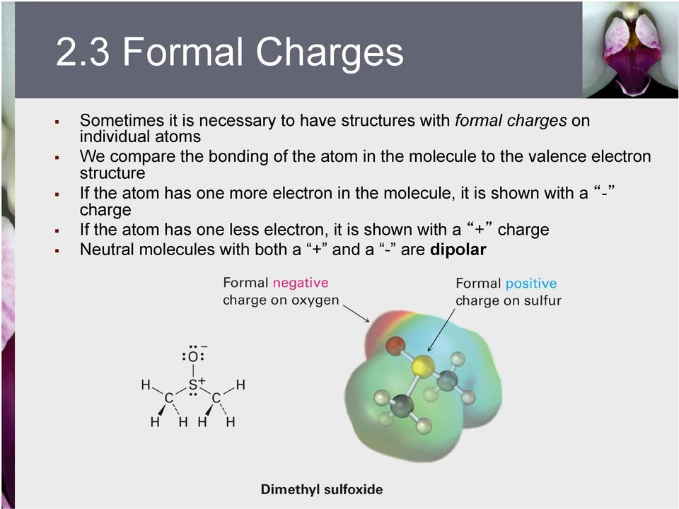 structure If the atom has one more electron in the molecule, it is shown with a - charge If the
