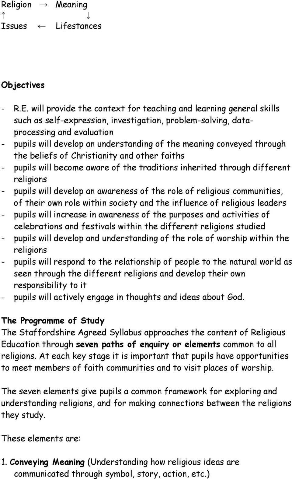 meaning conveyed through the beliefs of Christianity and other faiths - pupils will become aware of the traditions inherited through different religions - pupils will develop an awareness of the role