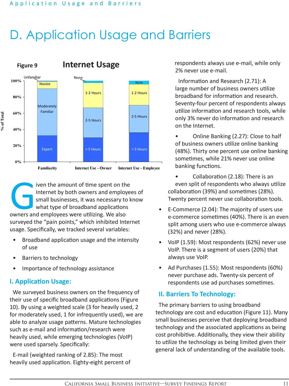 small businesses, it was necessary to know what type of broadband applications owners and employees were utilizing. We also surveyed the pain points, which inhibited Internet usage.