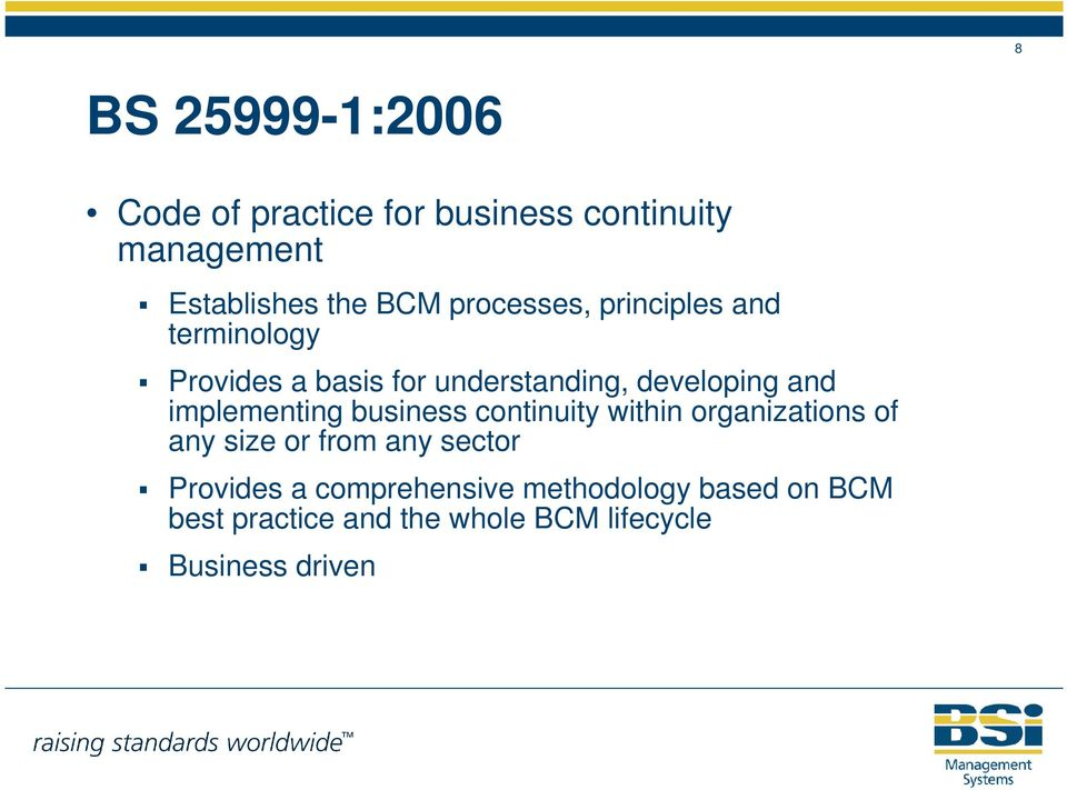 implementing business continuity within organizations of any size or from any sector