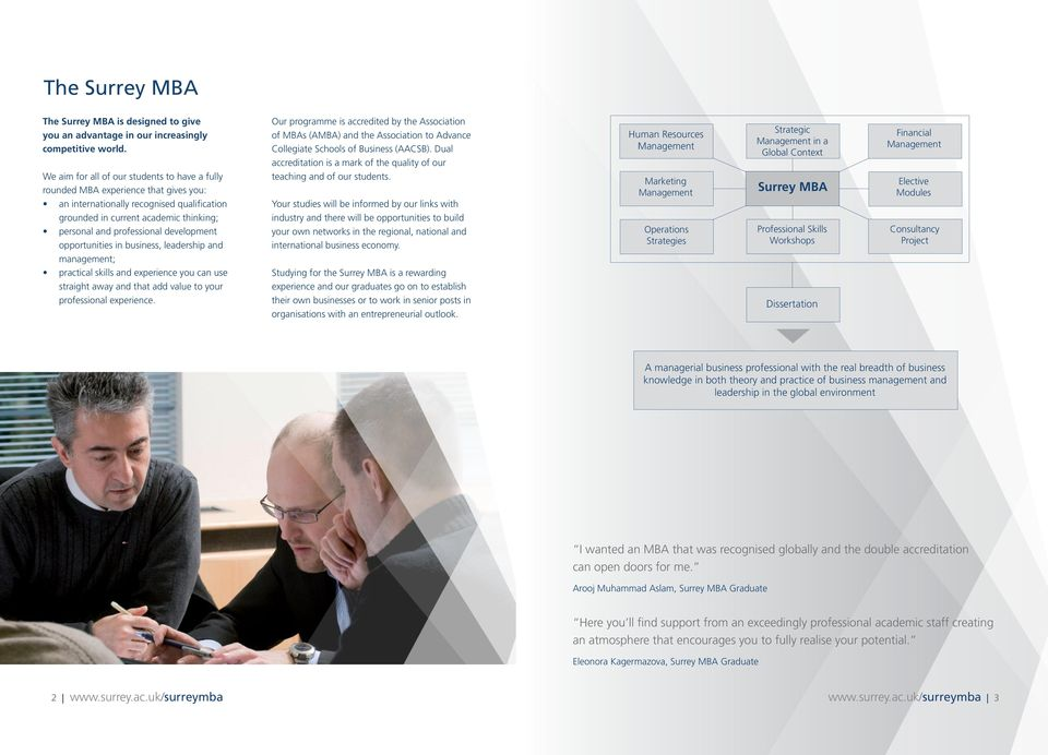 Dual accreditation is a mark of the quality of our Human Resources Management Strategic Management in a Global Context Financial Management We aim for all of our students to have a fully rounded MBA