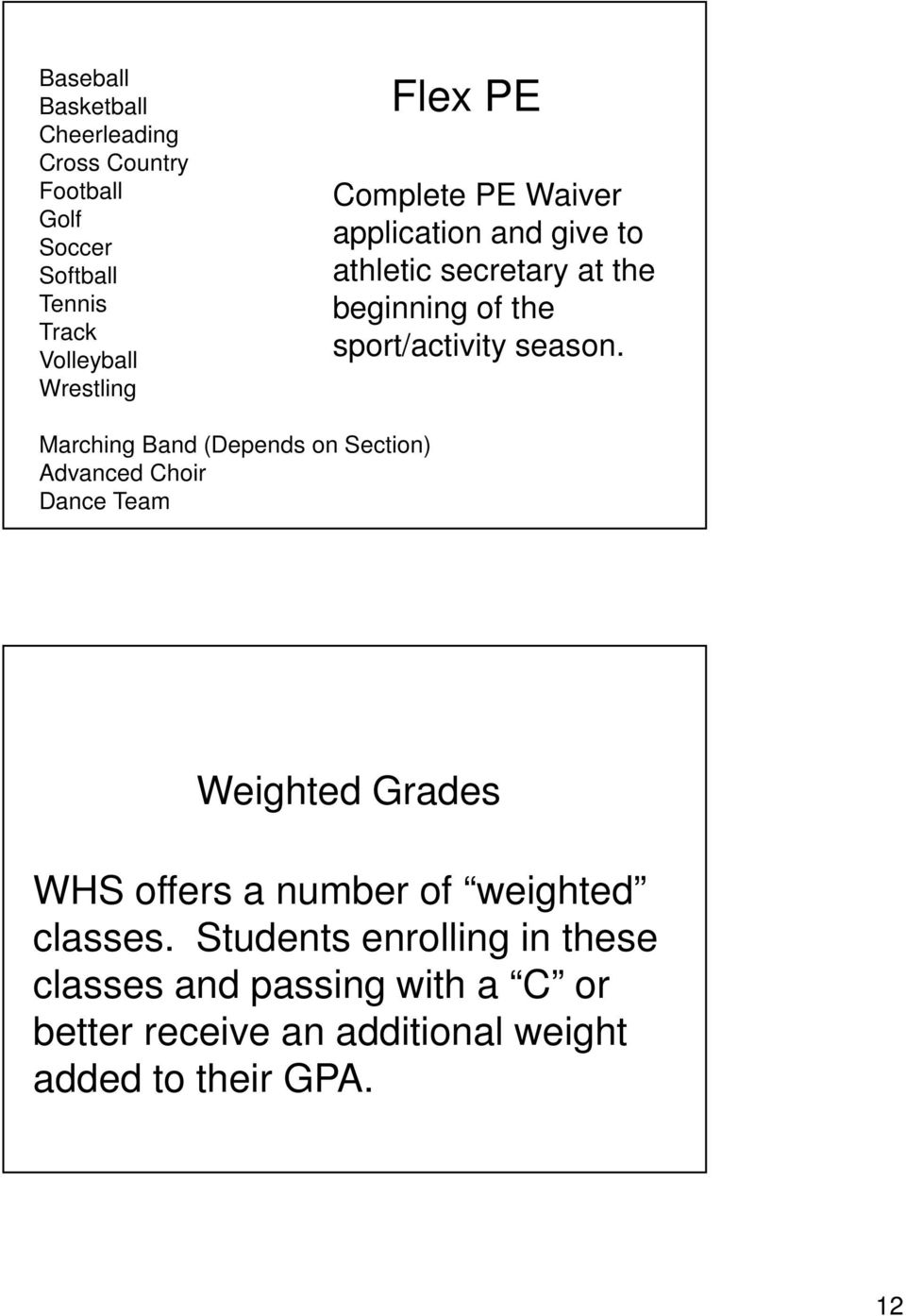 Marching Band (Depends on Section) Advanced Choir Dance Team Weighted Grades WHS offers a number of weighted